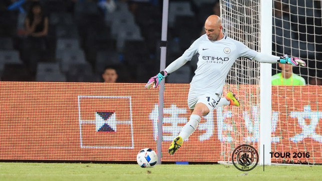 GO LONG: Willy Caballero goes through the motion to clear the danger.