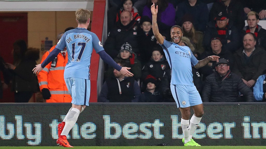 GOOD TIMES: Sterling celebrates putting City 1-0 up