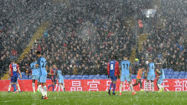 HAIL STORM: A near white-out at Selhurst Park