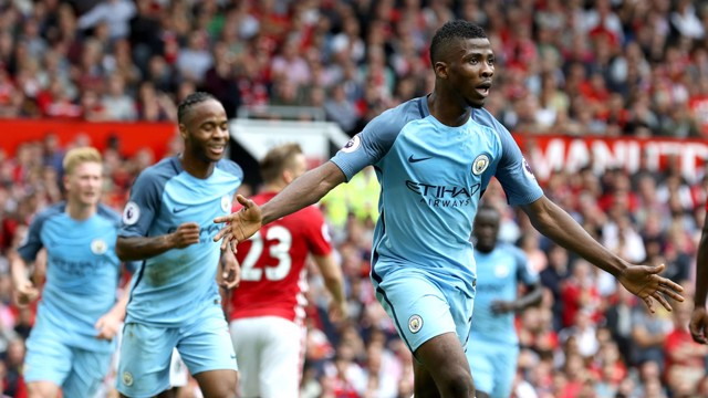 RIGHT PLACE, RIGHT TIME: Kelechi Iheanacho celebrates his goal