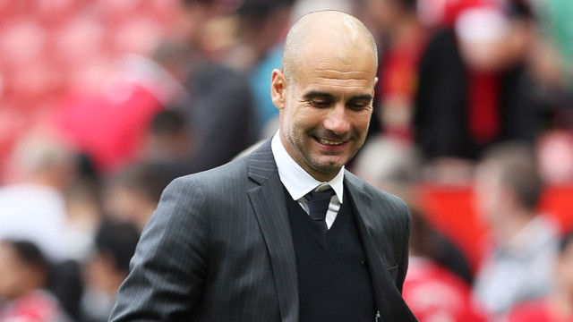 DERBY DELIGHT: Pep celebrates victory at Old Trafford, as City produced a scintillating display to defeat their neighbours