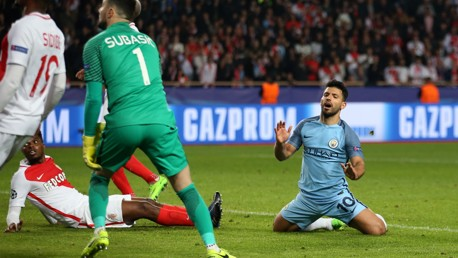 AGUERO REACTION: A frustrated Sergio reacts to his shot that went over the crossbar in the second half.