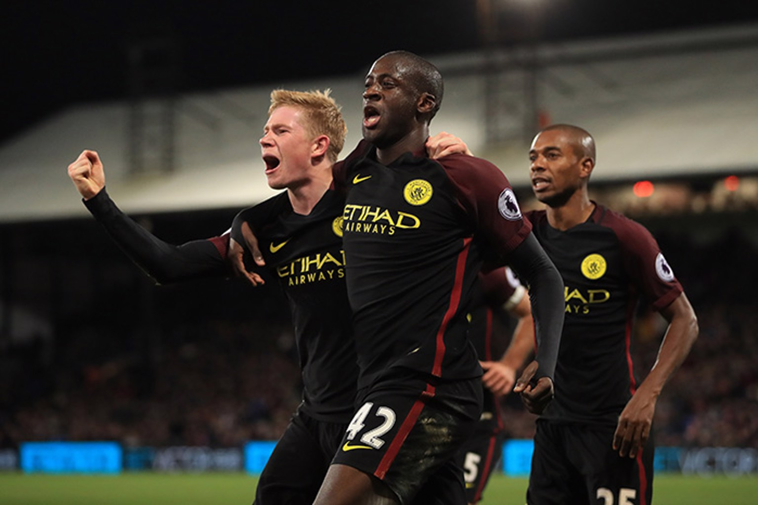 DOUBLE - Yaya Toure celebrates scoring his second goal