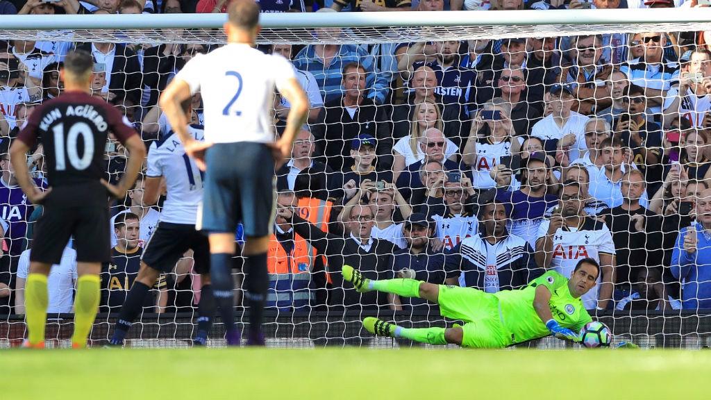 SPOT ON: Claudio Bravo saves Erik Lamela's penalty