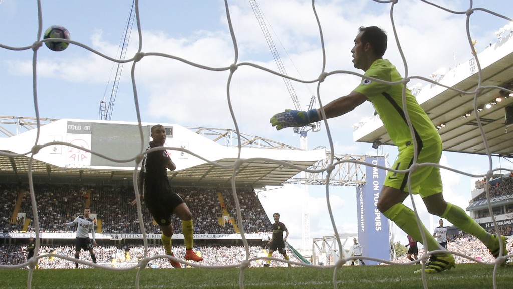 OWN GOAL: Aleks Kolarov watches on as the ball deflects off him and in