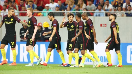 SILVA CELEBRATION: The team gather in for more celebrations