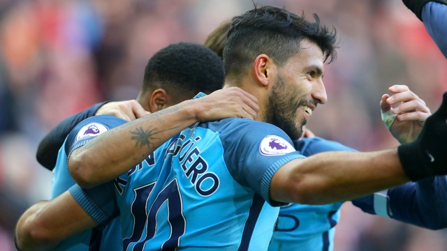 GET IN: The Blues celebrate Aguero's opener at the Stadium of Light.