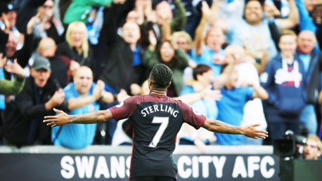 THIRD: Sterling scores City's third goal
