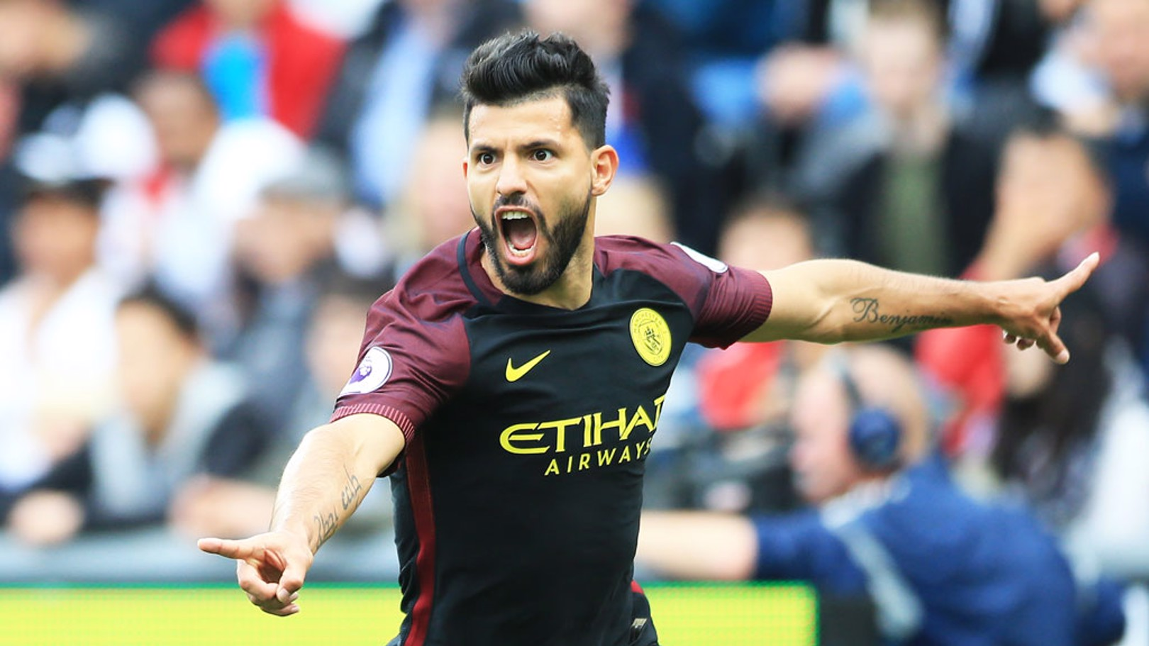 DELIGHT: Aguero celebrates his goal