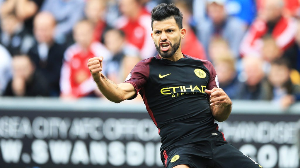 IN FORM: Aguero celebrates his first goal