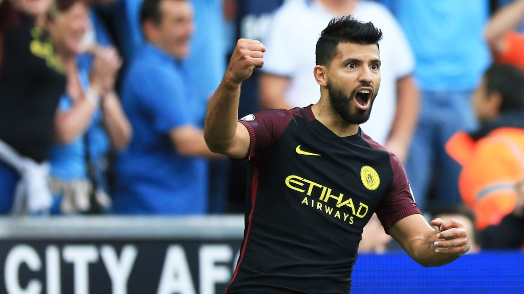 DOUBLE TROUBLE: Kun puts City back in the lead
