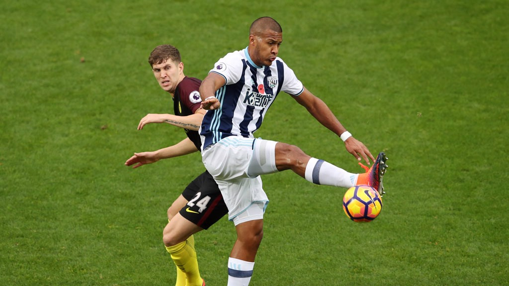 DUEL: John Stones and West Brom's Salomon Rondon clash