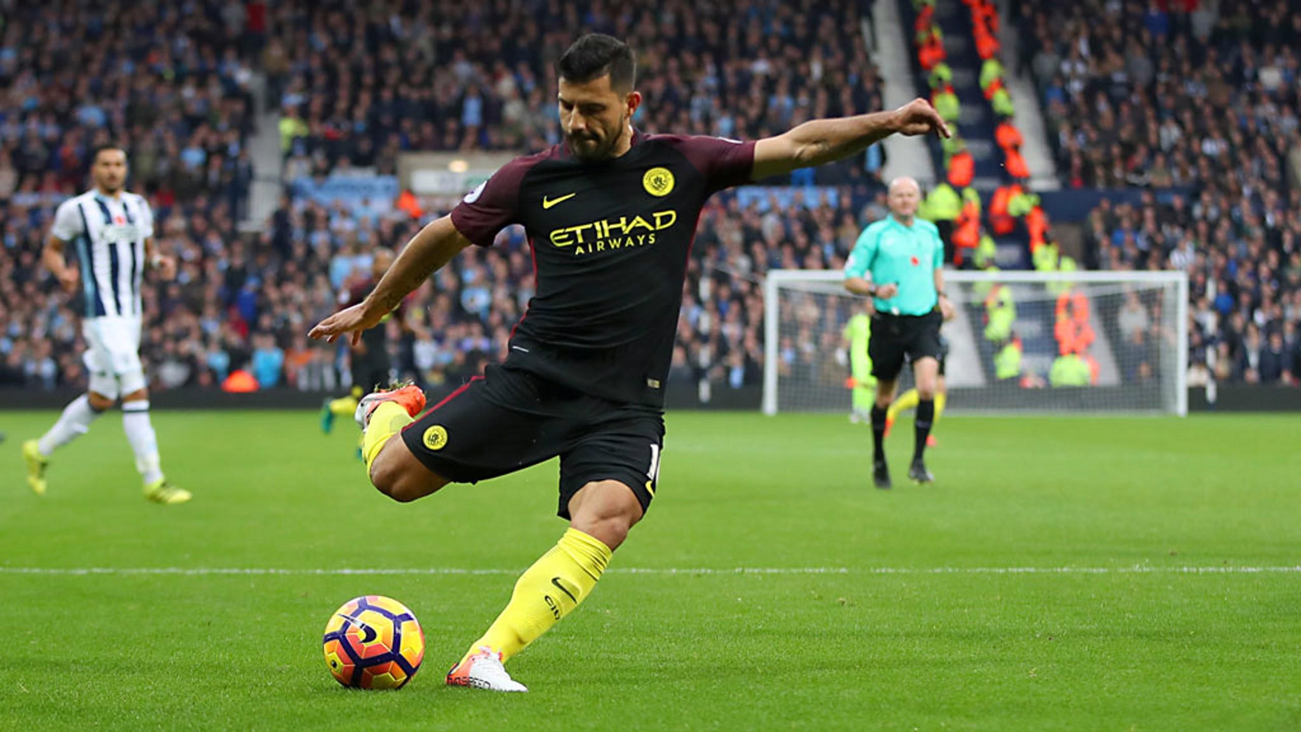 STRIKE: Sergio Aguero nets the Blues' first goal