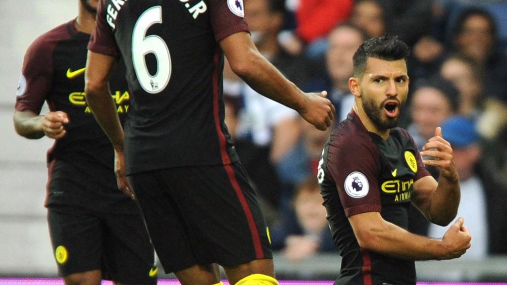 CELEBRATE Manchester City's Sergio Augero celebrates scoring the second goal