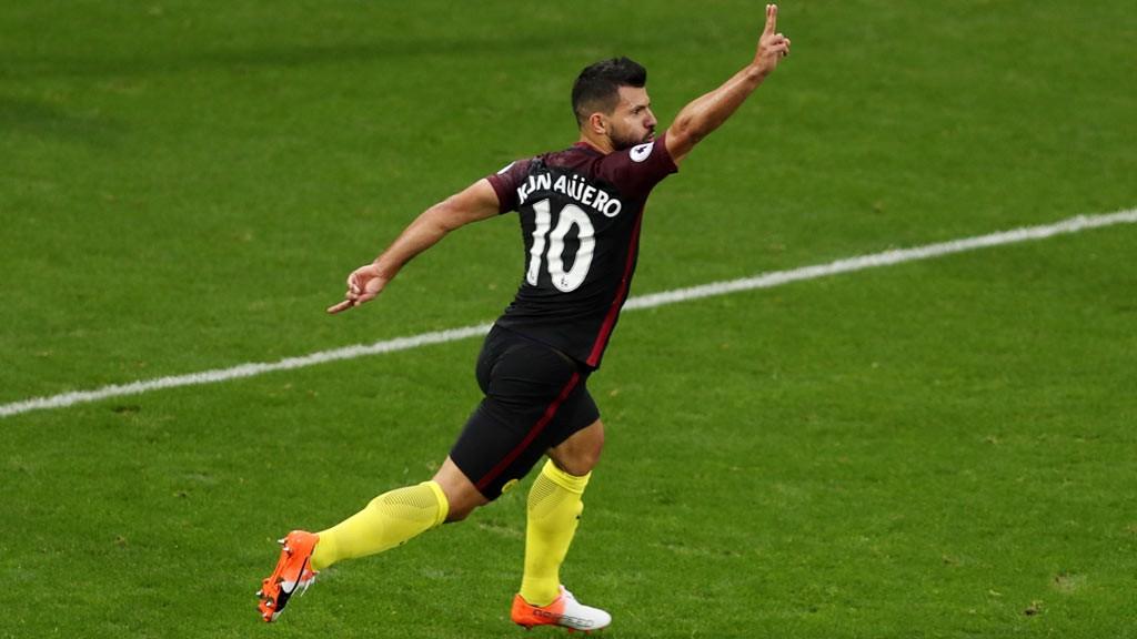 CELEBRATION Manchester City's Sergio Augero celebrates scoring the second goal