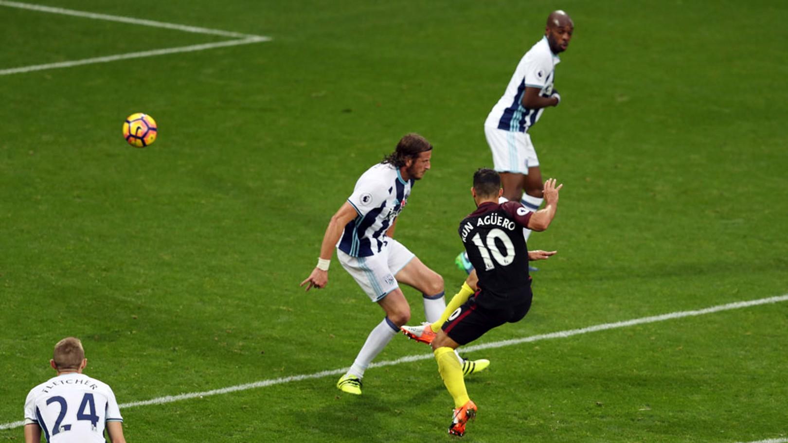 SCREAMER Manchester City's Sergio Aguero scores his second goal
