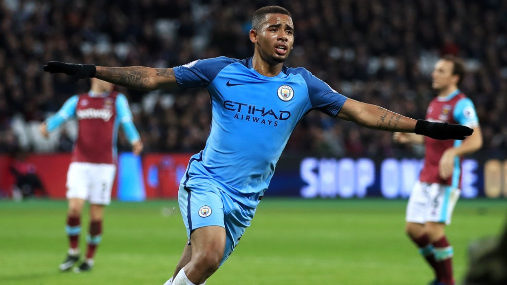 FLYING: An ecstatic Gabriel Jesus runs away in delight