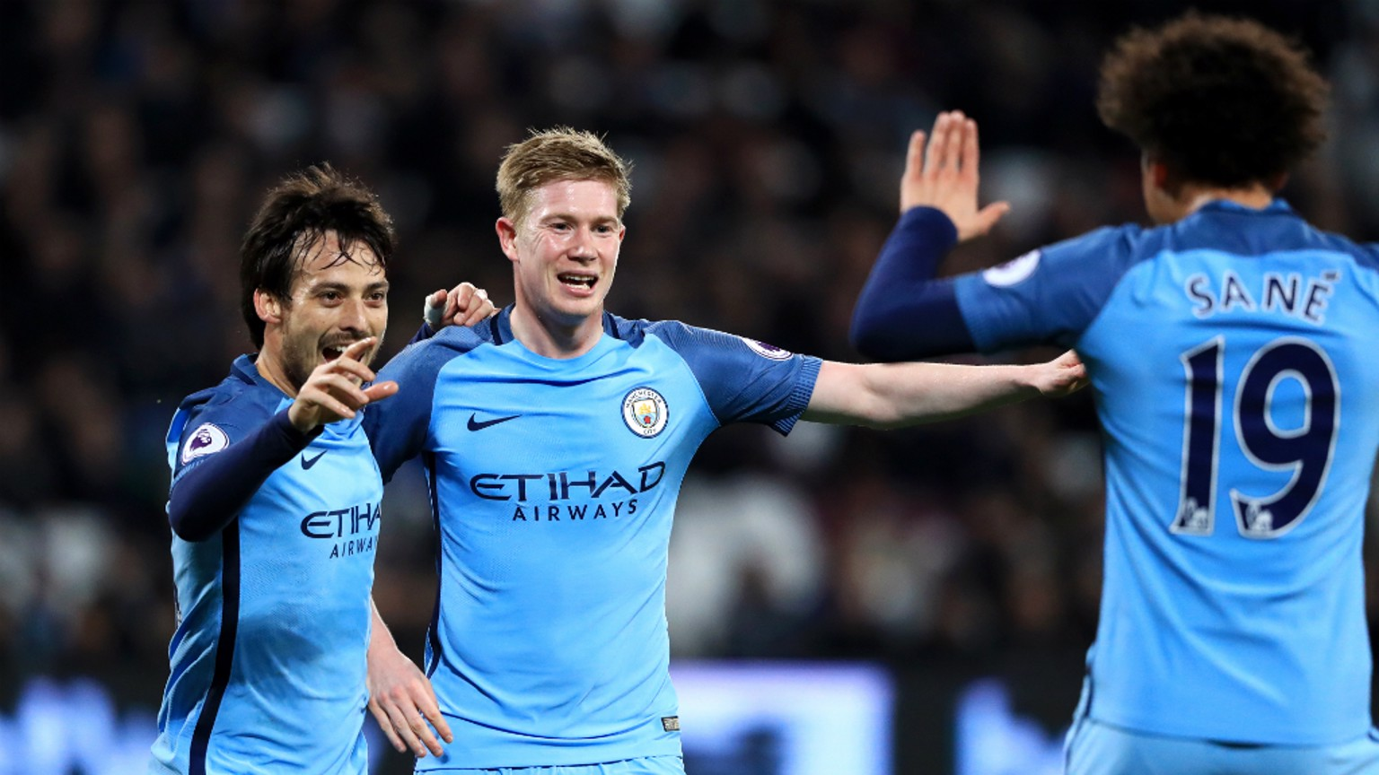 TEAMWORK: David Silva, Kevin De Bruyne and Leroy Sane celebrate City's second