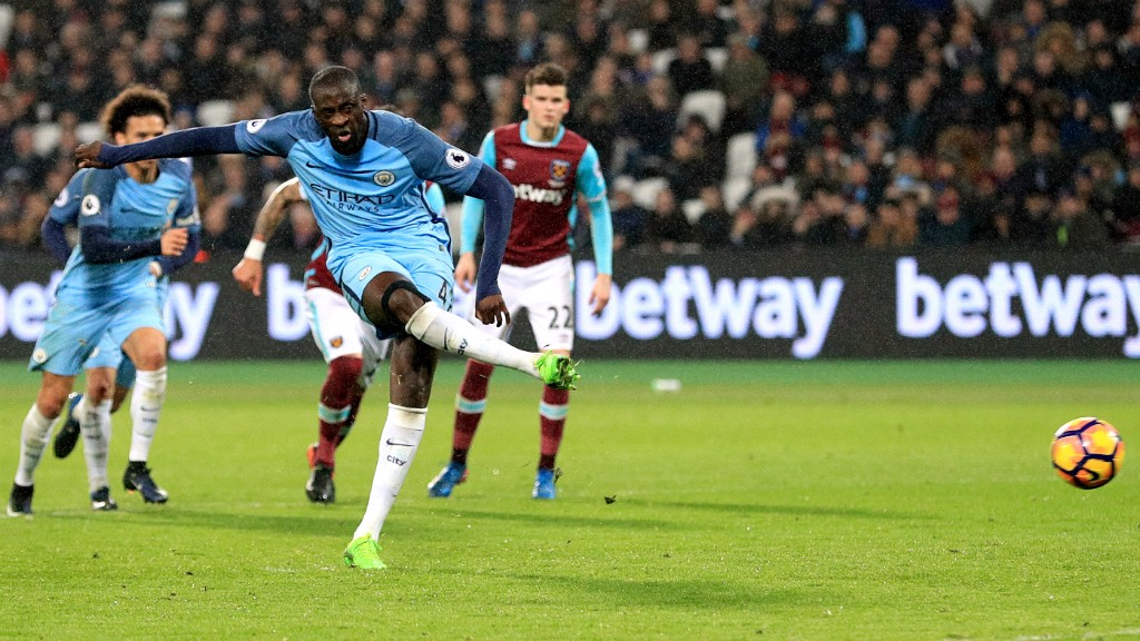 PENALTY KING: Yaya Toure steps up to continue his 100% Premier League record from the spot