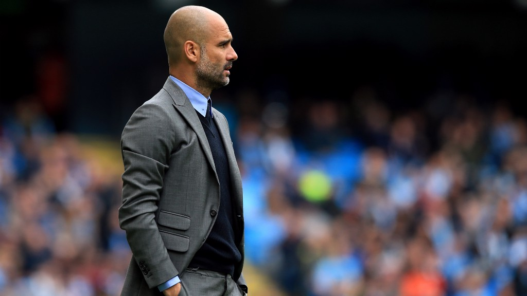 LOOKING ON: Pep was proud of his players in a convincing performance against Palace