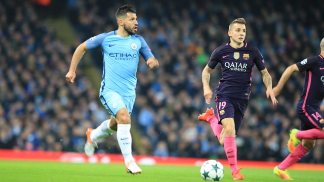 GET AWAY: Aguero powers away from Digne in search of a goal