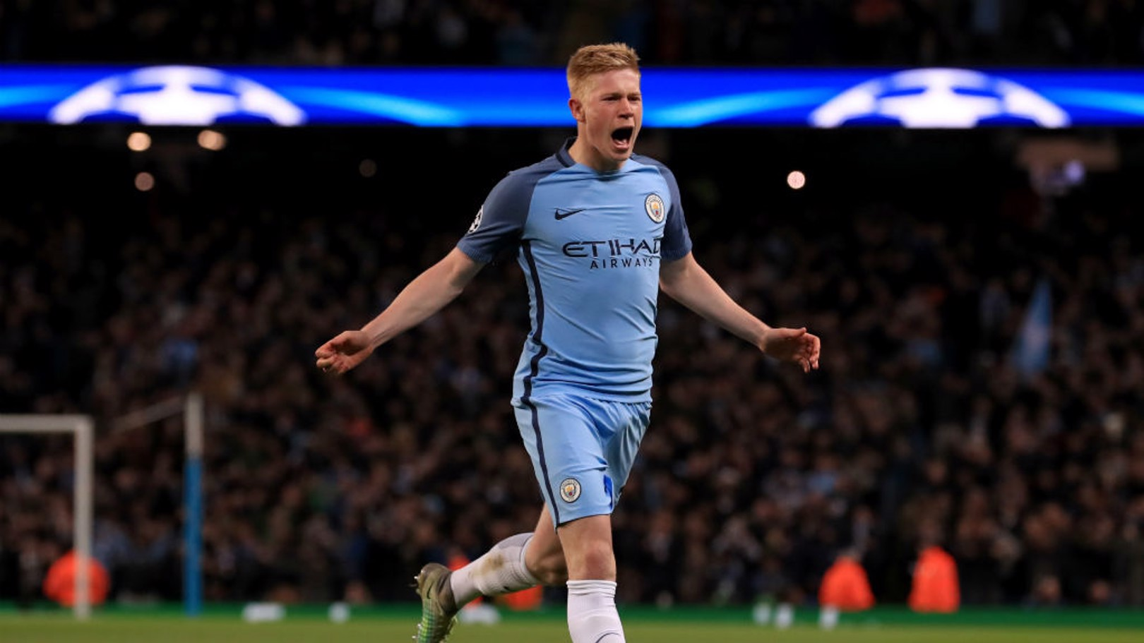 PICK THAT ONE OUT: De Bruyne wheels away after his free kick