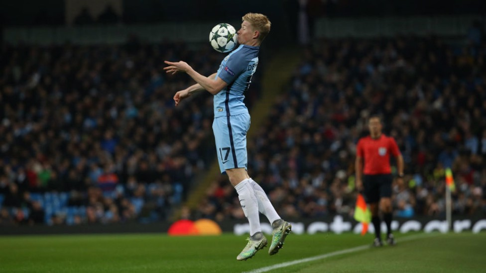 BRING IT DOWN: De Bruyne deals with a difficult pass