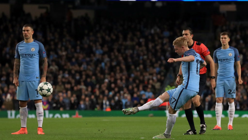 WONDERFUL: The moment De Bruyne put City ahead.