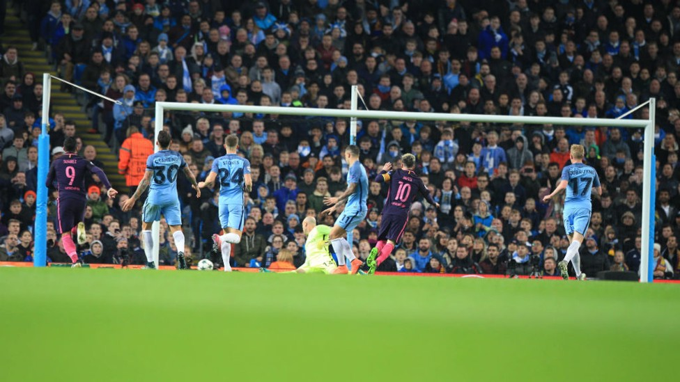 ONE-NIL: City's defenders converge but Messi tucks home