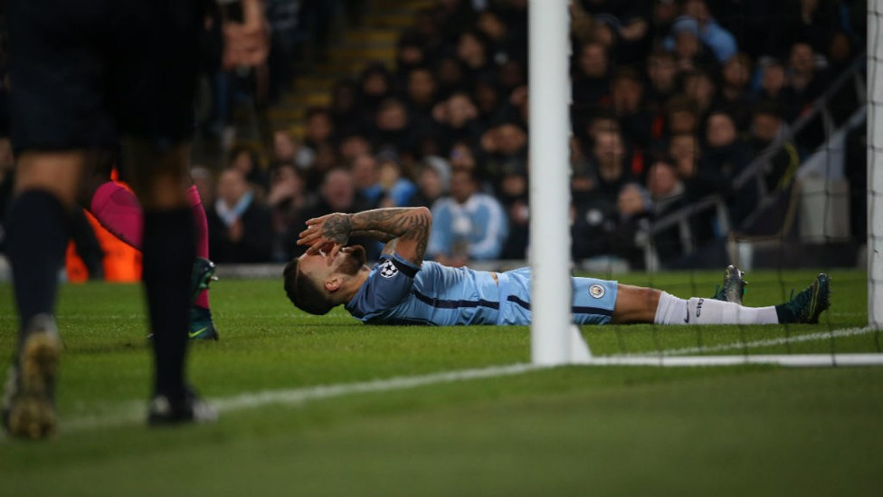 SO CLOSE: Otamendi reacts after being inches away from City's third