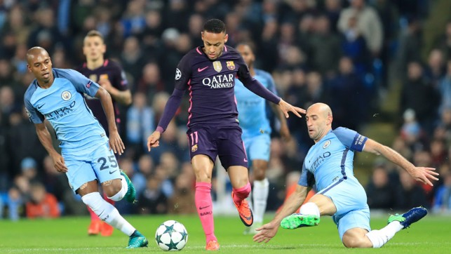 KEEP TRACK: Zabaleta and Fernandinho chase down Barcelona's Neymar