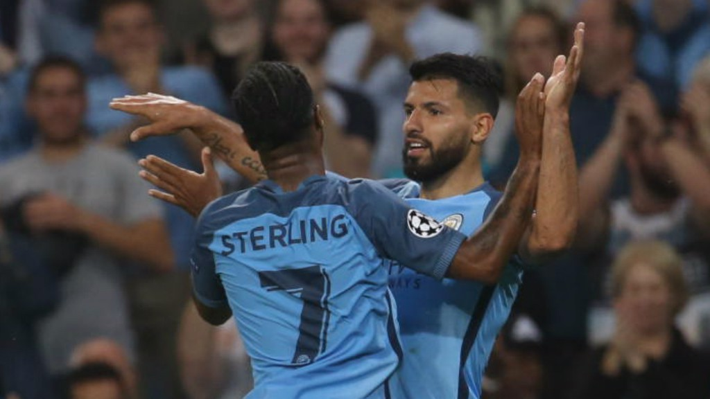 -TRICK HERO: Sergio Aguero netted another treble - this one in a 4-0 rout against Borussia Monchengladbach