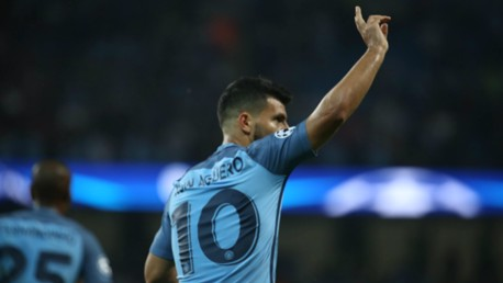 HANDS UP: Aguero wheels away in delight