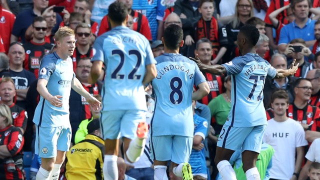 CELEBRATION: Kevin De Bruyne opens the scoring at the Etihad and is quickly congratulated by his team mates.