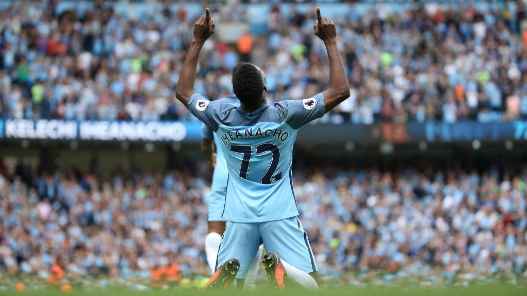 LOOK TO THE SKIES: Kelechi during the recent home win over Bournemouth