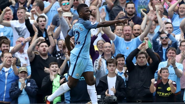 KELECHI: The 19-year old doubled City's lead in the 25th after slotting home from Raheem Sterling's cutback.