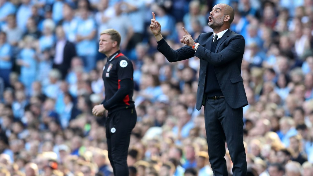 INSTRUCTIONS: Pep orchestrates his players as City put on another superb display against Bournemouth this season