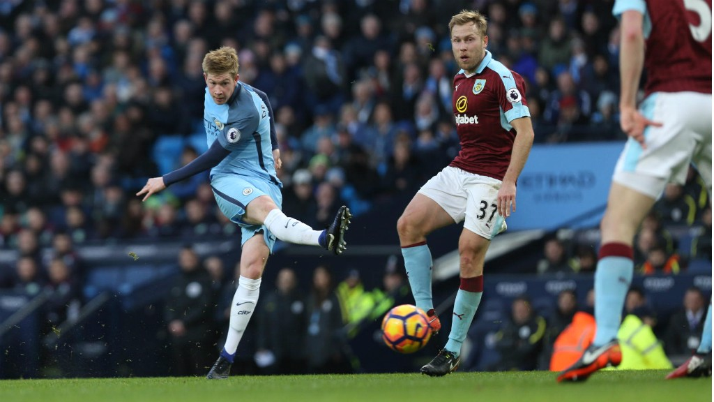 EFFORT: Kevin De Bruyne tries his luck from the edge of the area