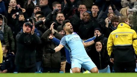 WHAT A HIT: Aguero celebrates his goal against Burnley