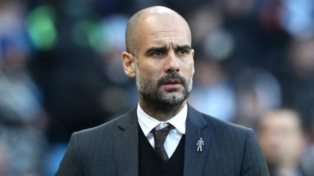 THE BOSS: Pep Guardiola surveys the situation