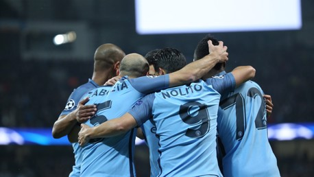 LEVELLER: The team gather to celebrate the equaliser