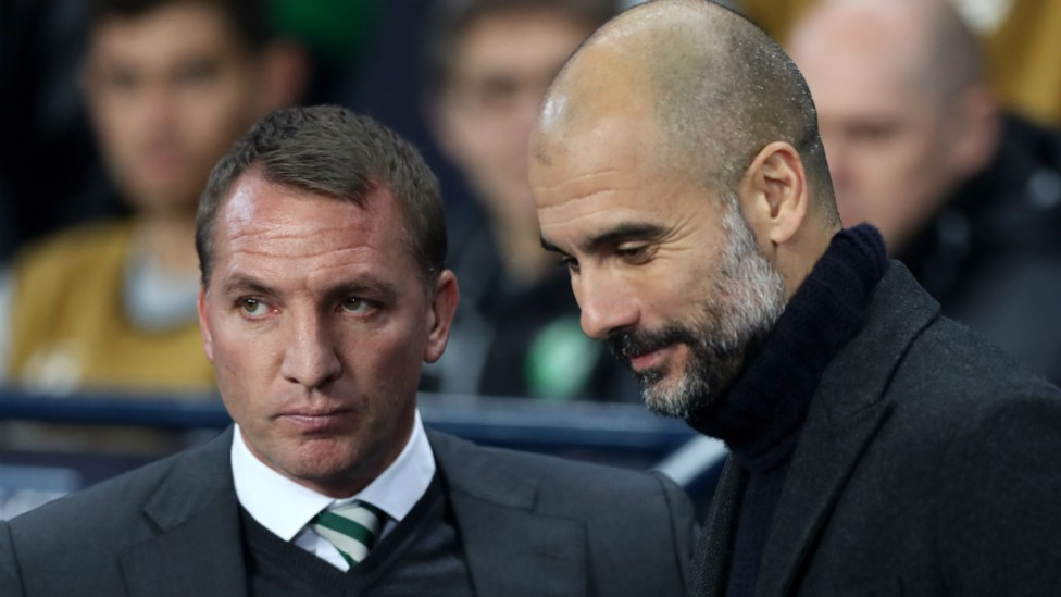 THE MANAGERS: Pep Guardiola and Brendan Rodgers catch up before kick-off
