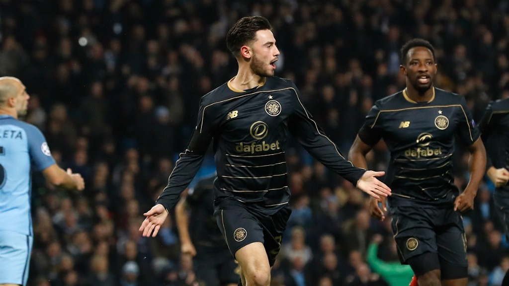 FAMILIAR FACE: Patrick Roberts celebrates scoring against his parent club
