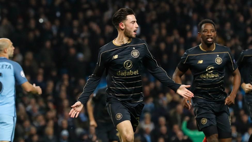 FAMILIAR FACE: Patrick Roberts celebrates scoring against his parent club