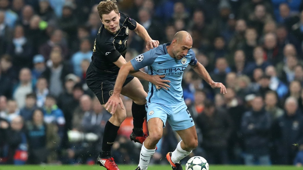 BATTLE: Pablo Zabaleta is watched very closely
