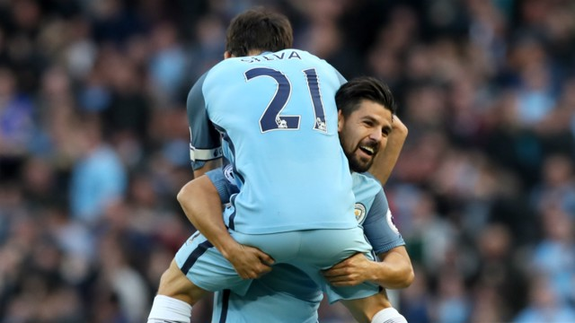 BIRTHDAY WISHES: David Silva celebrates with goalscorer Nolito, on his 30th birthday