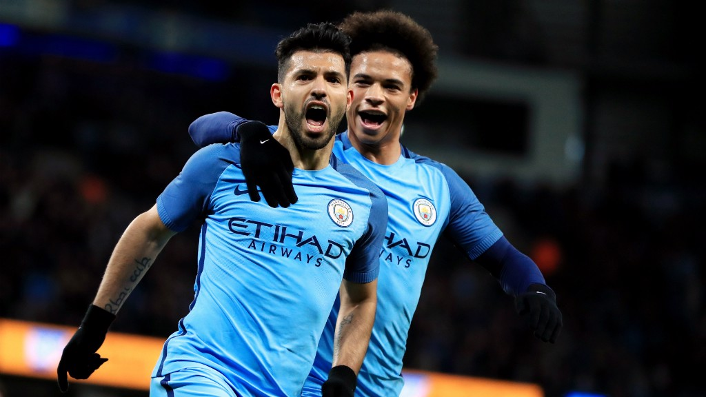 GET IN: Sergio celebrates his goal with Sane.