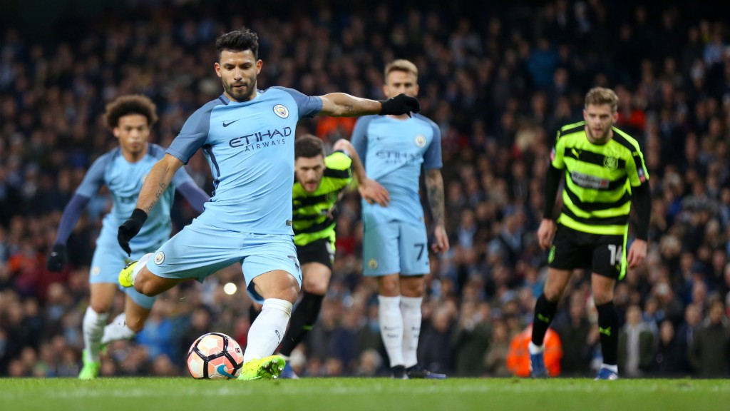 SWEET STRIKE: Aguero sends Joel Coleman the wrong way from 12 yards out!