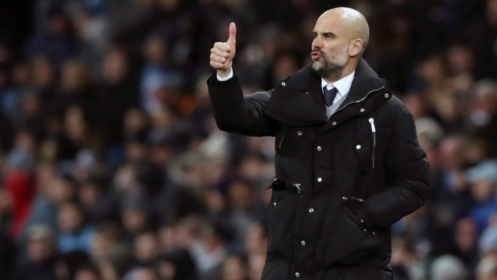 THUMBS UP: Pep was pleased with City's performance in the 5-1 win against Huddersfield Town.