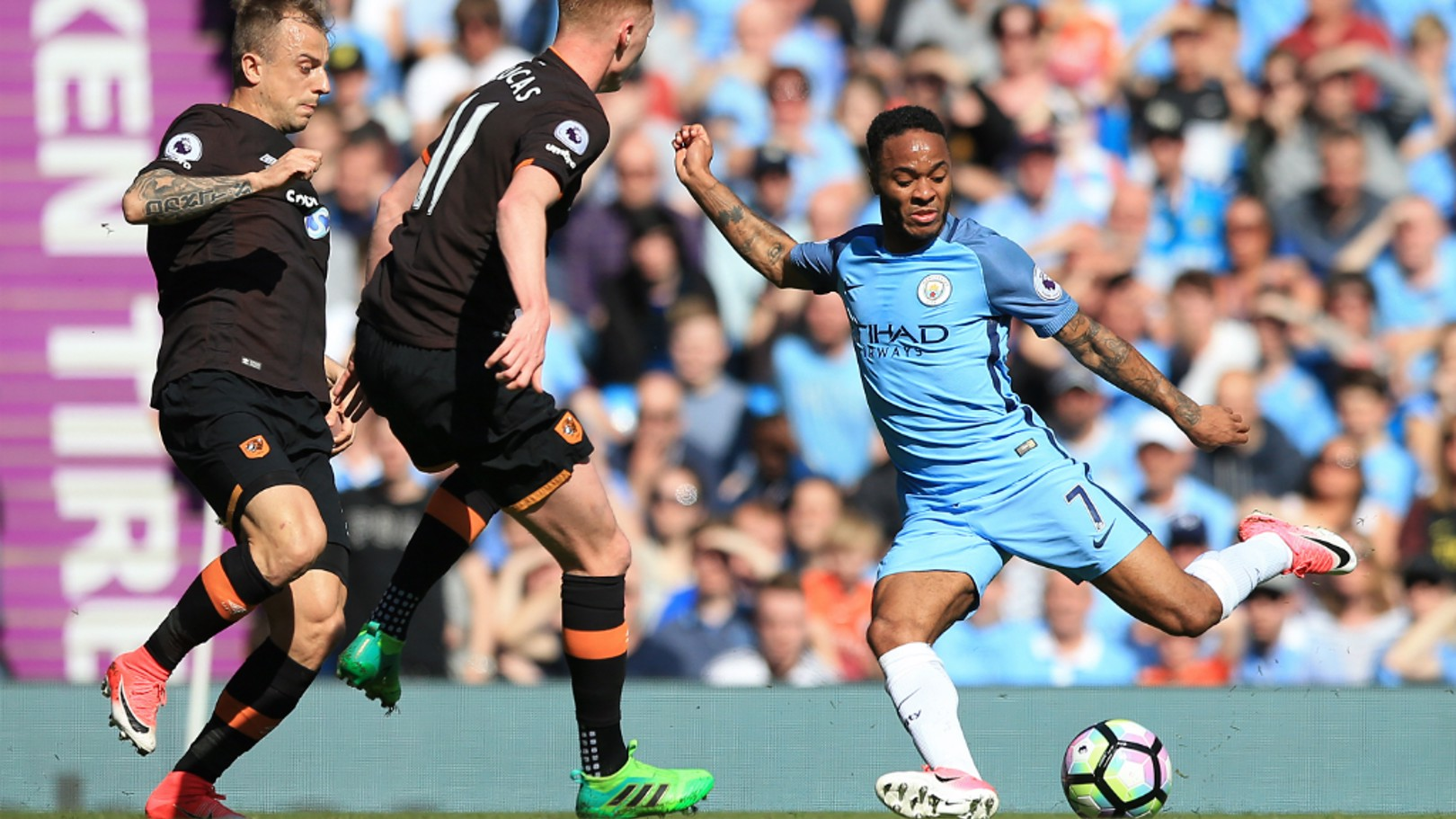 FLYING WINGER: Raheem tries to break into the Hull area in the first half.